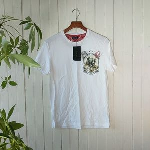 Zara white short sleeve cowboy print tee t shirt S